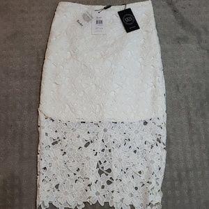 NWT Bardot white lace pencil skirt